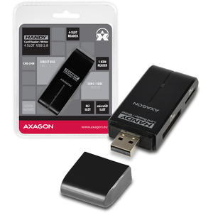 AXAGON External HANDY Card Reader 4-slot SD/MicroSD/MS/M2, Black