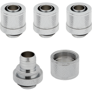 "Corsair Hydro X Series XF Compression 10/13mm (3/8"" / 1/2"") ID/OD Fittings Four Pack Chrom"