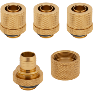 "Corsair Hydro X Series XF Compression 10/13mm (3/8"" / 1/2"") ID/OD Fittings Four Pack Gold"