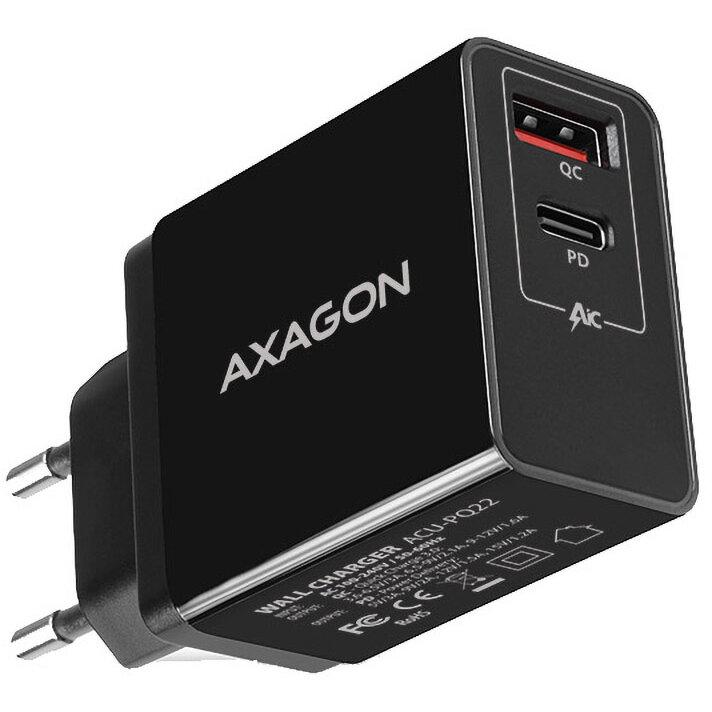 AXAGON Incarcator retea Dual USB 5V 3A + 1x Quick Charge3.0, 22W, Negru