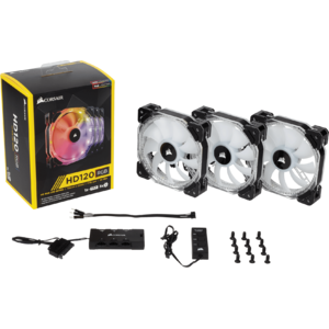 Ventilator Corsair HD120 RGB LED 120mm PWM, Three Pack, Controller inclus