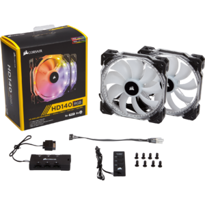 Ventilator Corsair HD140 RGB LED 140mm PWM, Dual Pack, Controller inclus